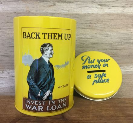 WW2 Savings Tin ~ Back Them Up ~ Money Box